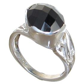 Black Onyx Sterling Silver Ring size M 1/2