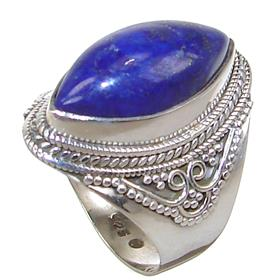Lapis Lazuli Sterling Silver Ring size Q 1/2