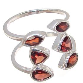 Royal Garnet Sterling Silver Ring Size R