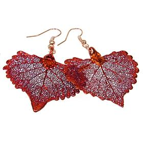 Unique Real Leaf Dipped in Copper Earrings