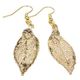 Large Real Leaf Dipped in 24k Gold Earrings