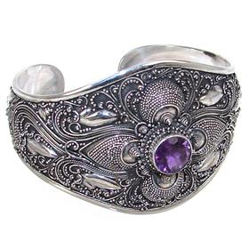 Bali Amethyst Sterling Silver Bracelet Bangle