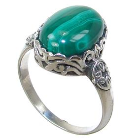 Fancy Malachite Sterling Silver Ring size S 1/2