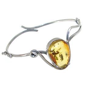 Stunning Baltic Amber Sterling Silver Bracelet Bangle