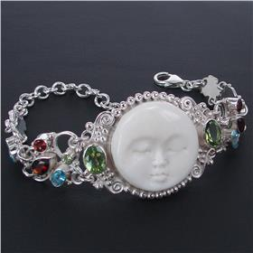 Fancy Face Multigem Sterling Silver Bracelet