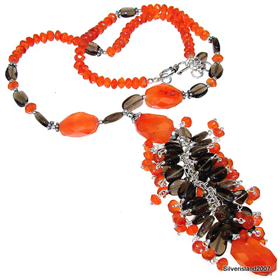 Carnelian Agate Sterling Silver Necklace 18 inches long