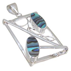 Designer Rainbow Abalone Sterling Silver Pendant