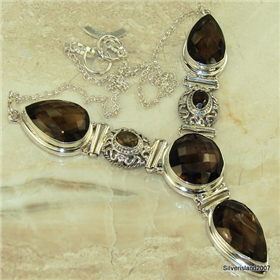Charming Smoky Quartz Sterling Silver Necklace Jewellery