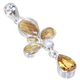 Designer Rutilated Quartz Sterling Silver Pendant
