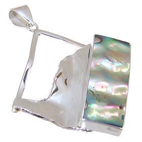 Designer Rainbow Abalone Sterling Silver Pendant