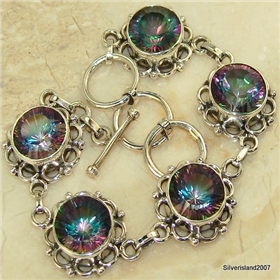 Incredible Mystic Topaz  925 Silver Bracelet Jewellery