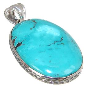 SolidTurquoise Sterling Silver Pendant