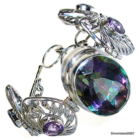 Incredible Mystic Topaz  925 Silver Bracelet Jewellery