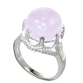 Rose Quartz Sterling Silver Ring size P