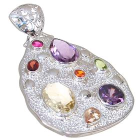 Large Magnificent Multigem Sterling Silver Pendant