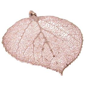 Large Unique Real Leaf Dipped in 24k Rose Gold Pendant