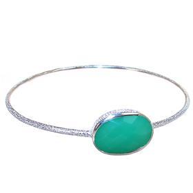 Green Onyx Sterling Silver Bracelet Bangle