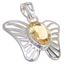 Sunny Citrine Sterling Silver Pendant