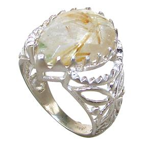 Rutilated Quartz Sterling Silver Ring size N