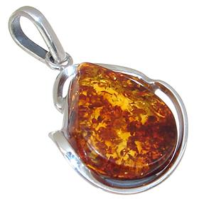 Stunning Baltic Amber Sterling Silver Pendant
