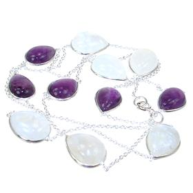 Moonstone Amethyst Sterling Silver Necklace Jewellery 30 inches long
