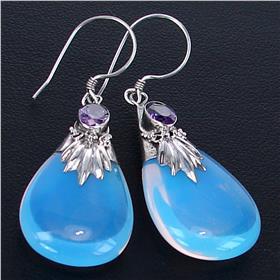 Fire Opalite Sterling Silver Earrings