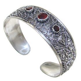 Glamorous Garnet Sterling Silver Bracelet Bangle