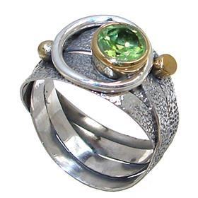 Fancy Peridot Sterling Silver Ring size Q 1/2