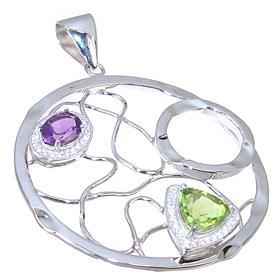 Designer Peridot Amethyst Sterling Silver Pendant