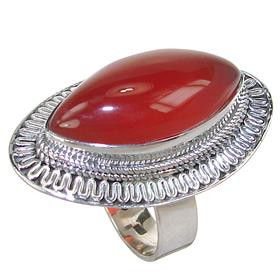 Solid Carnelian Agate Sterling Silver Ring size S