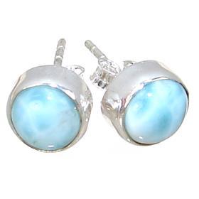 Larimar Sterling Silver Earrings Stud