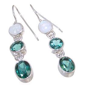 Forest Green Quartz Sterling Silver Earrings