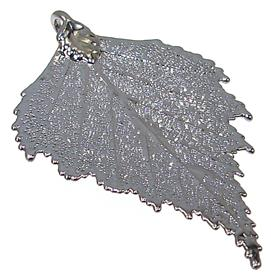 Large Unique Real Leaf Dipped in Rhodium Pendant