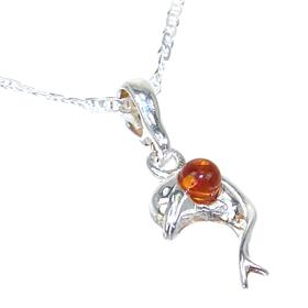 Baltic Amber Dolphin Sterling Silver Necklace 18 inches long