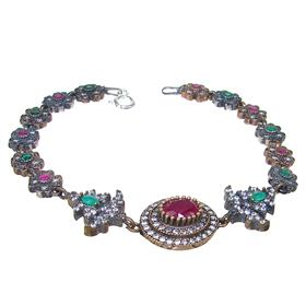 Created Ruby Emerald Sterling Silver and Brass Turkish Bracelet