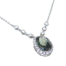 Olive Quartz Sterling Silver Necklace 18 Inches Long
