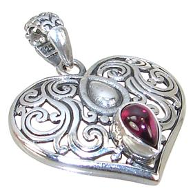 Royal Garnet Heart Sterling Silver Pendant