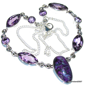 Genuine Purple Turquoise, Amethyst  925 Silver Necklace Jewellery