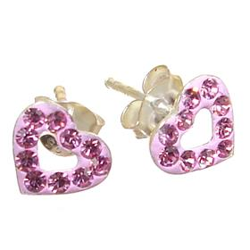 Pink Crystal Sterling Silver Earrings
