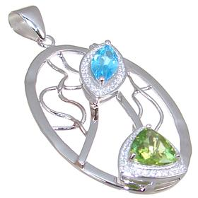 Designer Peridot Blue Topaz Sterling Silver Pendant