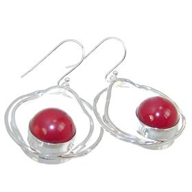 Solid Red Coral Sterling Silver Earrings