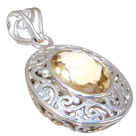 Solid Sunny Citrine Sterling Silver Pendant
