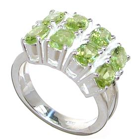 Solid Peridot Sterling Silver Ring size P