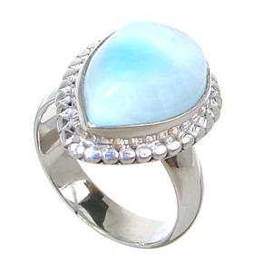Stunning Larimar Sterling Silver Ring size L