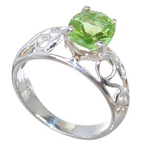 Solid Peridot Sterling Silver Ring size M