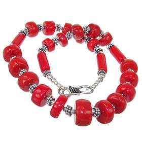 Red Coral Fashion Necklace 18 inches long
