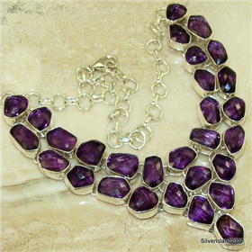 Genuine Purple Amethyst  925 Silver Necklace Jewellery