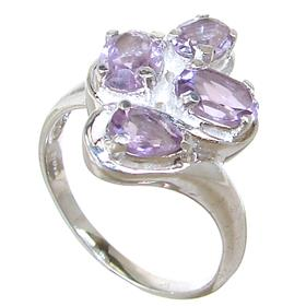 Fancy Amethyst Sterling Silver Ring size Q 1/2