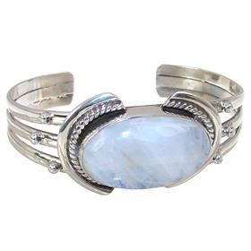 Solid Rainbow Moonstone Sterling Silver Bangle