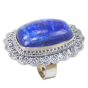 Chunky Lapis Lazuli Sterling Silver Ring size T